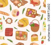 seamless pattern of picnic food ... | Shutterstock .eps vector #1938971602