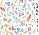 pattern winter flowers berries  ... | Shutterstock .eps vector #1938994438
