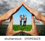 house made of hands protecting... | Shutterstock . vector #193903625