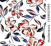 hand drawn summer floral... | Shutterstock .eps vector #1939037095