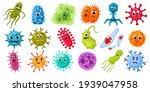 cartoon microbes and viruses....   Shutterstock .eps vector #1939047958