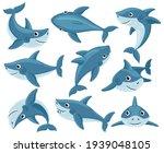 cartoon sharks. cute underwater ... | Shutterstock .eps vector #1939048105