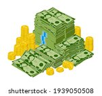 dollar bills pile. stacked... | Shutterstock .eps vector #1939050508