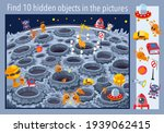 on the moon. find 10 objects in ... | Shutterstock .eps vector #1939062415