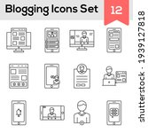 black line art set of blogging...   Shutterstock .eps vector #1939127818