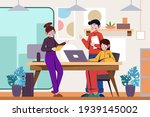 flat hand drawn coworking space ...   Shutterstock .eps vector #1939145002