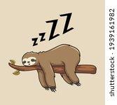 Lazy Sloth Cartoon Sleeping...