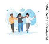 friends walk and talk. cheerful ...   Shutterstock .eps vector #1939335502