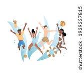 people splash and frolic  have...   Shutterstock .eps vector #1939337815