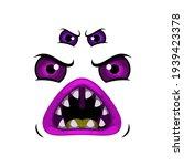 Monster Face Cartoon Vector...