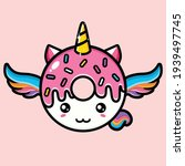 cute unicorn with pink donut | Shutterstock .eps vector #1939497745