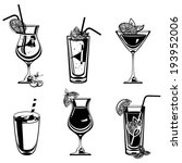 vector cocktail collection | Shutterstock .eps vector #193952006