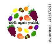 fruit set  organic product...   Shutterstock .eps vector #1939572085