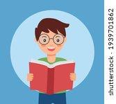 boy kids enjoy reading book in... | Shutterstock .eps vector #1939701862