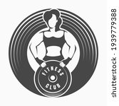 fitness logo or emblem with... | Shutterstock .eps vector #1939779388
