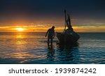 Silhouette Of Working Fisherman ...
