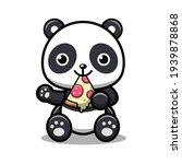 Panda Eats Pizza. Vector Icon...