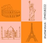 sketch eiffel tower  coliseum... | Shutterstock .eps vector #194018222