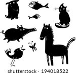 funny animal silhouettes  | Shutterstock .eps vector #194018522