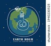 earth hour. light bulb with... | Shutterstock .eps vector #1940230525