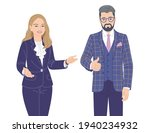 friendly woman and man in... | Shutterstock .eps vector #1940234932