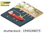 Vector Isometric Cargo Port Oil ...