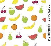 cartoon fruits seamless pattern | Shutterstock .eps vector #194031632