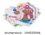 Heap Of Euro Banknotes And...
