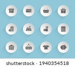 shopping vector icons on round...