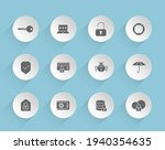 security vector icons on round...   Shutterstock .eps vector #1940354635