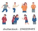 panic people. cartoon afraid... | Shutterstock .eps vector #1940359495