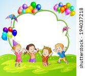 kids with balloons over banner | Shutterstock .eps vector #194037218