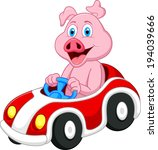 pig cartoon driving car  | Shutterstock . vector #194039666