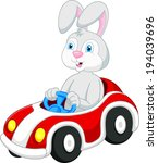 rabbit cartoon driving car  | Shutterstock . vector #194039696