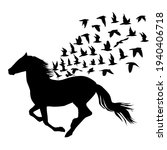 Abstract Silhouettes Of Horse...