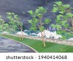 seaside landscape with storm in ... | Shutterstock .eps vector #1940414068