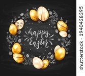 holiday card with golden easter ...   Shutterstock . vector #1940438395