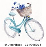 Vintage Turquoise Bike With...