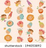 floral pattern with cute fairies | Shutterstock .eps vector #194053892