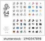 64 travel icons set vector...   Shutterstock .eps vector #1940547898