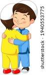 happy muslim kids hugging...   Shutterstock .eps vector #1940553775