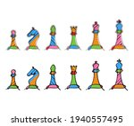 chess colorful figures pieces... | Shutterstock .eps vector #1940557495