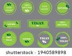 set with green food vegan logo. ... | Shutterstock .eps vector #1940589898