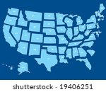 a vector usa map of all states... | Shutterstock .eps vector #19406251