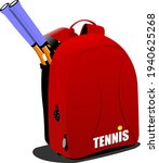 red  backpack with tennis...   Shutterstock . vector #1940625268