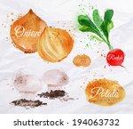 vegetables set drawn watercolor ... | Shutterstock .eps vector #194063732