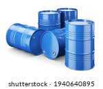 Three Blue Metal Barrels With...