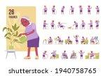 old black woman set  elderly... | Shutterstock .eps vector #1940758765