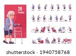 old woman character set  pose... | Shutterstock .eps vector #1940758768