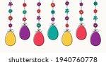 hanging easter eggs. hand drawn ... | Shutterstock .eps vector #1940760778